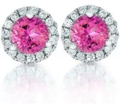 Pompeii3 1ct Pink Topaz & Diamond Halo Studs 18k White Gold.