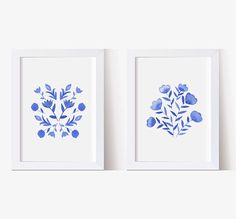 Watercolor Painting Watercolor Picture Blue and White Flowers Watercolor Pictures, Watercolor Print, Watercolor Paintings, Watercolors, Navy Blue Wall Art, Navy Blue Walls, Playroom Wall Decor, To Color, Home Art