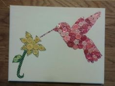 Button-art-canvas-Hummingbird-and-flower-Unique-gift-Handmade-mothers-daygift