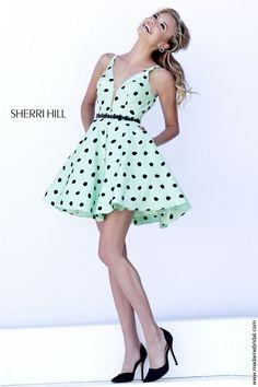 Sherri Hill 32238 V-Neck Beaded Waist Polka Dot Cocktail-Length - A Line, V Neck