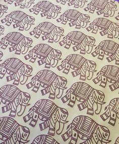 Hand printed brown wrapping paper using a fabulous hand carved Indian Elephant printing block!