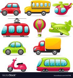 Find Cartoon Transport Set stock images in HD and millions of other royalty-free stock photos, illustrations and vectors in the Shutterstock collection. Thousands of new, high-quality pictures added every day. Toys For Boys, Kids Toys, Art For Kids, Crafts For Kids, Transportation Theme, Free Cartoons, Mode Of Transport, Cartoon Pics, Art Images