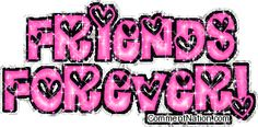 Friends Forever Pink Hearts Glitter Text MySpace Graphic Comment