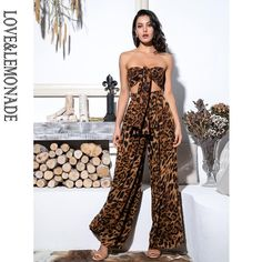 Sexy Two-Pieces Leopard Chiffon High Waist Sets Two Piece Jumpsuit, Sexy, Pants For Women, Clothes For Women, Two Piece Outfit, Punk Fashion, Two Pieces, Skirt Fashion, Shopping