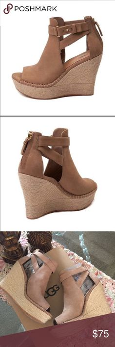 """UGG JOLINA TAW. BRAND NEW original box. Nubuck and jute Rear zipper Added arch support PORON® and memory foam insole Leather insole lining Synthetic outsole 4"""" wedge; 1 ⅛"""" platform Imported UGG Shoes Sneakers"""