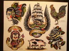 FO SHO - Old School Tattoo - Traditional Tattoo Design, Traditional Ink, Traditional Tattoo Flash, Neo Tattoo, Tattoo Pics, Rooster Tattoo, Vintage Style Tattoos, Tattoo Apprenticeship, Tattoo Flash Sheet
