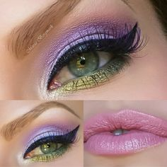 A sultry purple eye makeup with shades of gold and lavender. to complete your night out. The products used are available here.