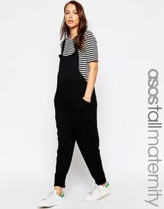 Image 1 ofASOS Maternity TALL Dungaree Jumpsuit In Jersey