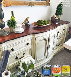 Potentially Chic, http://www.potentiallychic.com/, of Roanoke, VA gave this buffet a classy makeover with General Finishes Linen Milk Paint, Van Dyke Brown Glaze Effects and Java Gel Stain.  You can find your favorite GF products at Woodcraft, Rockler Woodworking stores or Wood Essence in Canada. You can also use your zip code to find a retailer near you at http://generalfinishes.com/where-buy#.UvASj1M3mIY.  #generalfinishes #gfmilkpaint #gfglaze #javagel