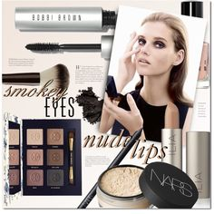 Smokey Eyes, Nude Lips: Beauty by stacey-lynne on Polyvore featuring polyvore beauty Tory Burch NARS Cosmetics Bobbi Brown Cosmetics Hourglass Cosmetics