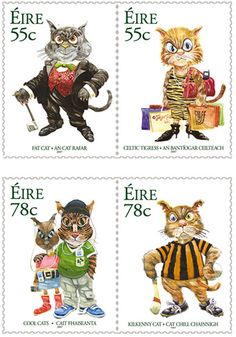 """Celtic Cats"" stamps. Illustrated by Martyn Turner, The Irish Times' political cartoonist. The stamps feature the artist's impressions of images representing a Kilkenny Cat, a Celtic Tigress, a Fat Cat and a couple of Cool Cats."