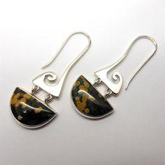 Earring Ocean Jasper 925 Sterling Silver Wave Motif | Authentic Stone | Crystal Heart Melbourne Australia since 1986