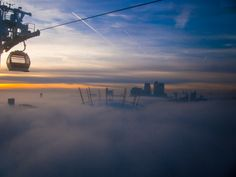 London Fog - The Emirates Air Line Sky Ride, Ski Lift, Fantasy Images, United Arab Emirates, Northern Lights, Clouds, London, Sunset, Places