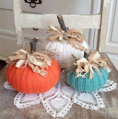 Sweater Pumpkins Set of 3 Cream Orange Turquoise Fabric Pumpkins shabby rustic… Sweater Pumpkins, Wood Pumpkins, Fabric Pumpkins, Fall Pumpkins, Fall Pumpkin Crafts, Autumn Crafts, Pumpkin Ideas, Holiday Crafts, Turquoise Fabric