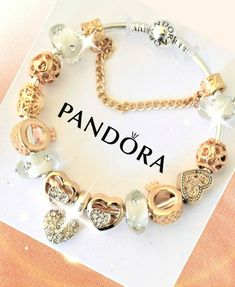 Authentic Pandora Charm Bracelet With Gold CZ Heart European Charms.