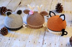 CROCHET PATTERN - Forest Friends - raccoon, deer, and fox hat pattern, 5 sizes (Infant, Baby, Toddler, Child, Adult) - Instant PDF Download