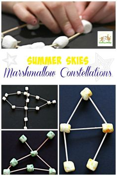 Love watching for stars in the sky and identifying constellations? Learn what to look for with this summer skies marshmallow constellations project!