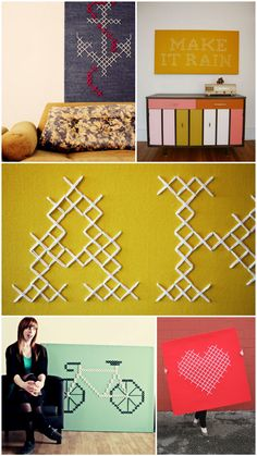 modern cross stitch - cute idea for canvas or large artwork