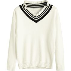 College Style Ruffle Collar Knitwear Crystal Cream S (1.795 RUB) ❤ liked on Polyvore featuring tops, zaful, cream top, white top, ruffle collar top and crystal top