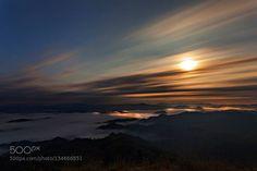 Lit by the Moon http://ift.tt/1PwaAJe cloudsfullmoonlightmoonmorningmountains