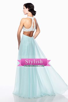 2016 See-Through Open Back A Line Prom Dresses Scoop Floor Length Chiffon Wiith Applique