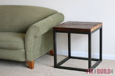 How to build a Reclaimed Industrial Side Table. You don& have to weld either! I made DIY faux metal legs from wood that look like the real deal. Diy Furniture Plans, Furniture Projects, Rustic Furniture, Unique Furniture, Furniture Stores, Inexpensive Furniture, Furniture Websites, Furniture Design, Rustic Table