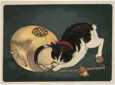 """Cat Catching a Rat"" - By Kobayachi Kiyochika"