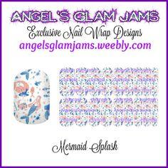 Mermaid Splash Jamberry Nail Wraps by Angel's Glam Jams  ORDER HERE: http://angelsglamjams.weebly.com/mermaid-splash.html  #mermaid #splash #mermaidtail #ocean #fantasy #blue #coral #beach #jamberry #nailwraps