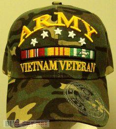 9235bfba0fa NEW CAMO U.S. ARMY VIET NAM VIETNAM VETERAN VET SERVICE CAMPAIGN RIBBONS CAP  HAT  PREMIUMHATS