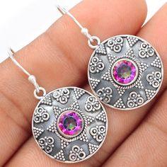 Rainbow-Topaz-925-Sterling-Silver-Earrings-Jewelry-SE101494