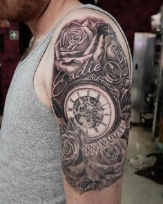Pocket watch and rose half sleeve tattoo - 100 Awesome Watch Tattoo Designs  <3 <3