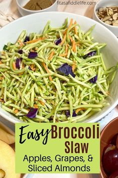 Crunchy slaw recipe. Full of broccoli, apple, grape, and toasted almond flavor. Dressed with a sweet and sour sauce that melds the flavors.Perfect with steak, chicken, or burgers. fitasafiddlelife.com Crunchy Slaw Recipe, Broccoli Slaw Recipes, Steak Side Dishes, Sliced Almonds, Eating Plans, Green Beans, Meal Planning, Meals, Mediterranean Diet