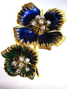 Enamel And Diamond Flower Brooch, by Richters Jewelry - Richters Jewelry on Taigan