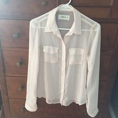Abercrombie sheer shirt - free w/ $20 purchase I bought this shirt from TJMaxx and never wore it. It is too transparent to wear to school. Will make a classy party outfit or a summer casual. It is a very pale pink color. Everything is on sale because I am moving overseas and can't fit all in my luggage. My loss your gain! Abercrombie & Fitch Tops Button Down Shirts