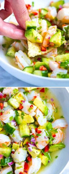 How to make fresh healthy and delicious shrimp ceviche at home! This shrimp ceviche is made with limes lemon red onion cucumber chile peppers cilantro and avocado. I love it served as an appetizer or for a light meal. Light Appetizers, Shrimp Appetizers, Shrimp Recipes, Seviche Recipes, Appetizer Recipes, Dinner Recipes, Cooking Recipes, Healthy Recipes, Freezer Recipes