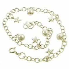 """Sterling Silver Star & Ball Charm Anklet ZilverZoom. $27.40. 10"""" Length. Gift Box Included. Aprox. 6.7 Grams. Sterling Silver 925"""