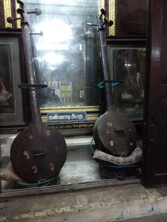👇🏻👇🏻👇🏻Original Veena of Swami Thyagararaja on the right and on left the original Veena of his Guru Swami Venkataramana Bhagawathar👇🏻👇🏻👇🏻