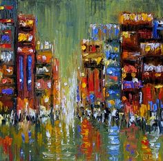 Abstract Cityscape art painting by Debra Hurd, painting by artist Debra Hurd
