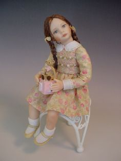 Porcelain Dollhouse Doll: Little girl with teddy on alphabet block toy by Debbie Dixon-Paver