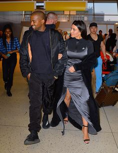Kim Kardashian and Kanye West at JFK Airport on April 16, 2016 in New York City. (Photo by Robert Kamau/GC Images)