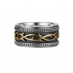 Scott Kay Unkaged Silver and Gold 14mm Engraved Sparta Band