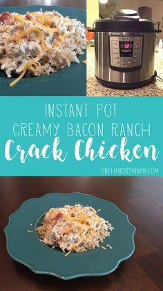 Instant Pot Creamy Bacon Ranch Crack Chicken from /onehangrymama/ instantpot pressurecooker recipes Slow Cooker Recipes, Crockpot Recipes, Keto Recipes, Cooking Recipes, Healthy Recipes, Bulk Cooking, Atkins Recipes, Cooking Pork, Cooking Games