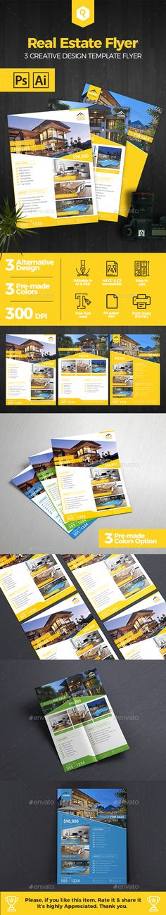 Premium Real Estate Flyer Template by RahardiCreative Real Estate Flyer TemplateReal estate flyer template is help you to promote your property with marvellous design. Include 3 altern