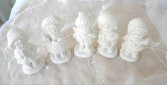 Set of 5 Christmas Caroling Children, White Porcelain Bisque, Vintage Items, Christmas Decor, Holiday Decor by RitasGarden on Etsy