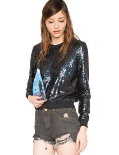 with different bottoms, this sweatshirt could work! Black Sequin Sweatshirt - $114