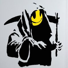 Another of our Banksy Wall Decal range, this is called Banksy Smiley Grim Reaper, and as the name implies has a Grim Reaper with a yellow Acid Face. The Banksy Wall Decal is available in three sizes and can be bought in alternative colours. http://wowwalldecals.com.au/  #Vinyl Wall Art #Wall Art Stickers