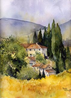 watercolour landscape of a scene in Tuscany Buy this artwork on home decor stationery bags et more. Watercolor Architecture, Watercolor Landscape Paintings, Landscape Artwork, Watercolour Painting, Watercolors, Contemporary Landscape, Landscape Architecture, Painting Techniques, Painting Inspiration