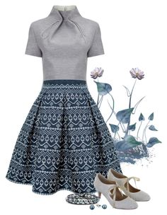 """""""#286: Print Skirt, Grey Top"""" by eiluned ❤ liked on Polyvore featuring J. JS Lee, Rumour London, Rainbow Club, Chan Luu, Sam Edelman, women's clothing, women, female, woman and misses"""