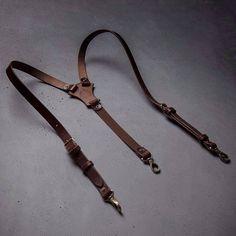 Leather suspenders Brown Wedding suspenders by Kruk Garage