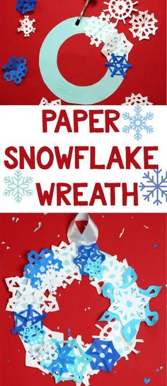 Super easy Christmas craft for Kids! Make this paper snowflake wreath. It's so easy you'll want to make one for every room in the house. Also makes a great Christmas preschool and elementary school craft. | Winter Crafts for Kids Preschool Christmas, Christmas Crafts For Kids, Christmas Projects, Simple Christmas, Snowflake Wreath, Paper Snowflakes, Winter Activities For Kids, Fun Activities, Holiday Fun